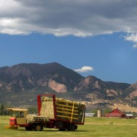 A tractor picks up the bales of hay in Boulder, Colorado.